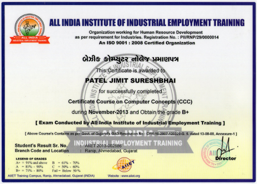 Computer training institute certificate sample etamemibawa computer training institute certificate sample yelopaper Image collections